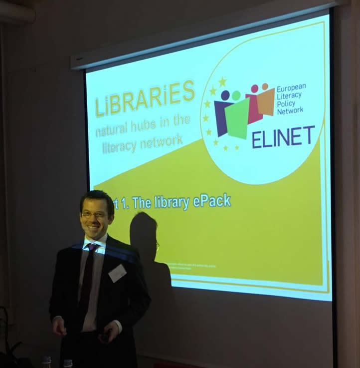 "EBLIDA Director, Vincent Bonnet, presented the ""Library E-pack"""